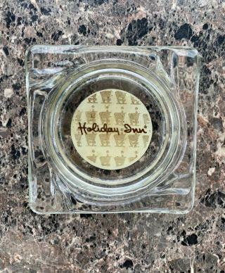 Holiday Inn Hotel Clear Glass Square Ashtray Vintage