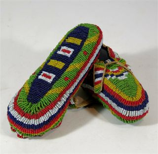 C1900 Pair Native American Sioux Indian Fully Bead Decorated Hide Moccasins