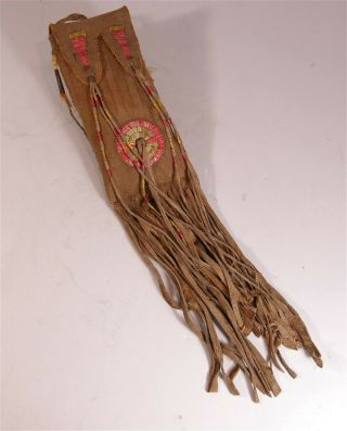 Ca1890s Native American Sioux Or Mandan Indian Bead And Quill Decorated Hide Bag