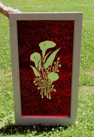 Large 19thc Antique Architectural Red Cut To Clear Glass,  Calla Lily Window,  Nr