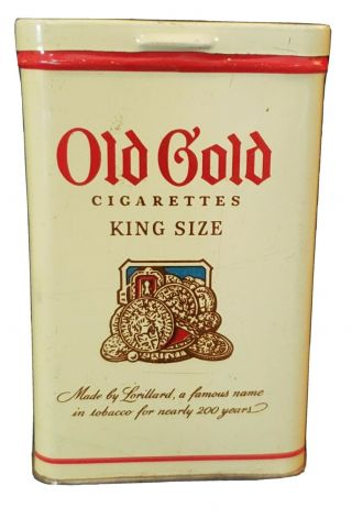 Vintage Old Gold King Size Cigarette Box Tobacco Tin - Flip Top