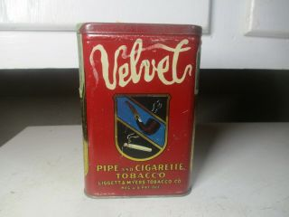 Vintage Velvet Pocket Tobacco Tin Advertising Great Graphics Estate Find