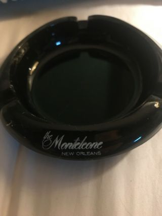 "Vintage Black Glass Ashtray "" The Monteleone "" Orleans"