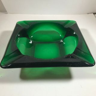Vintage Emerald Green Glass Square Ashtray Retro