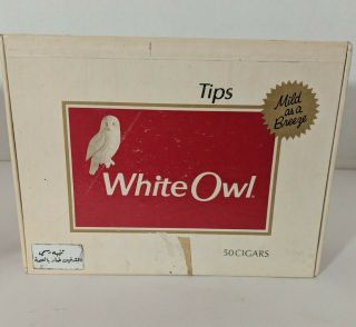 Vintage White Owl Tips Cardboard Empty Cigar Box