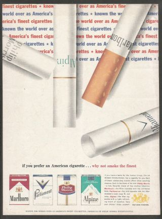 Philip Morris International Cigarettes Marlboro,  Parliament,  Alpine 1962 Print Ad