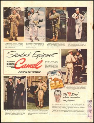 1942 Ww2 Tobacco Ad Camel Cigarettes,  Standard Equipment Army Navy More 120918