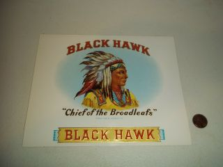 Vintage Black Hawk Chief Of The Broadleafs Cigar Box Label
