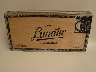 Aganorsa Leaf Empty Wooden Cigar Box - - Jfr Lunatic El Gran Loco 5 1/2 X 80