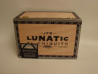 Aganorsa Leaf Empty Wooden Cigar Box - - Jfr Lunatic El Chiquito 4 3/4 X 70