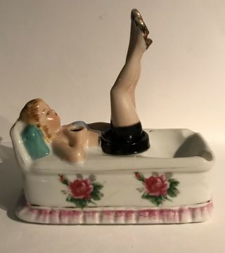 Vintage Ceramic Lady Ashtray Movable Bobbing Legs Made In Japan