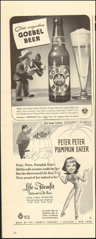 1942 Vintage Movie Ad For Goebel Beer Retro Bottle Art Glass (011517))
