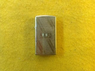 Vintage 1981 Zippo Slim Gold Tone Lighter Engraved
