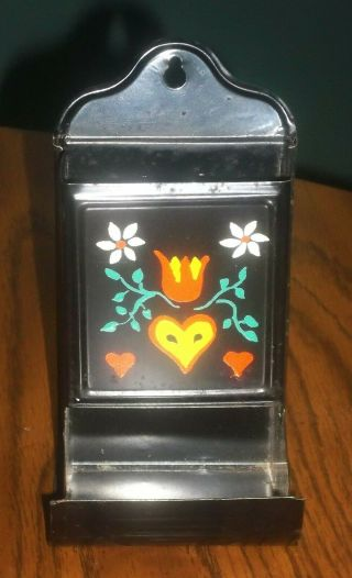 Vintage Metal Wall Match Box Holder W/ Hand Painted Folk Art Hearts Flowers