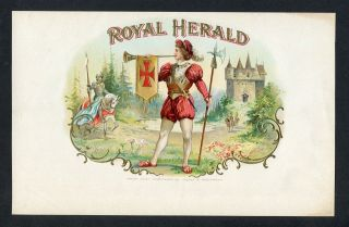 Old Royal Herald Cigar Label - Castle - Knight With Lance On Horse