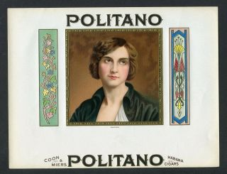 Old Politano Cigar Label - Portrait,  Gold Trim,  Art Deco Designs