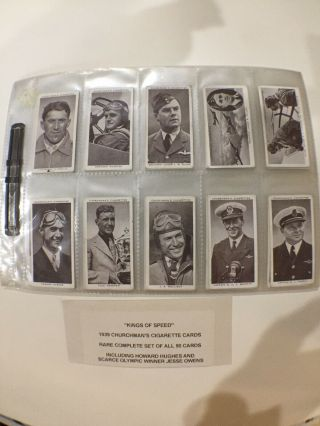 "Rare 1939 Churchman's Cigarette Cards ""king's Of Speed"" Complete Set"