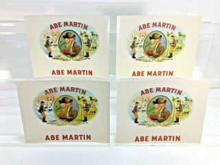 Vintage Cigar Label - Abe Martin Lithograph Embossed Inner Label - Qty Of 4