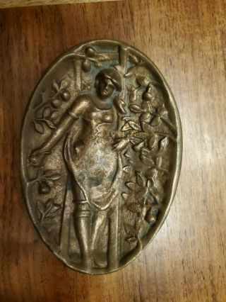 Vintage Bronze Risque Ashtray 2 Sided Girl On A Ladder