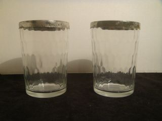 2 Vintage American Quality Snuff Glasses Honeycomb Pattern And Tops