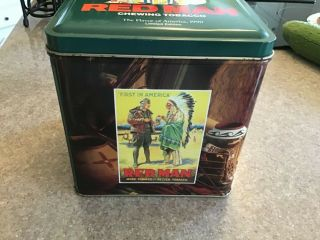 Vintage Red Man Chewing Tobacco Tin Box Canister Vintage 1990 Limited Edition