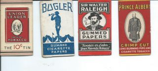 Ac - 001 Four Cigarette Rolling Paper Wrappers Bugler Raleigh Union Leader Albert