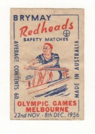 Melbourne Olympic Games 1956 Matchbox Label - Rowing