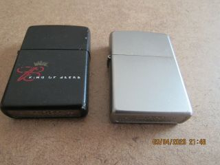 2 Vintage Zippo Lighters One Black One Brushed Chrome