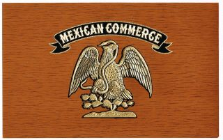 Cigar Box Label Vintage C1930 Embossed Mexican Commerce Mexico Eagle & Snake B2