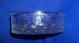 Vintage Heavy Lead Crystal Criss Cross Clear Cut Glass W/frosted Flowers Ashtray