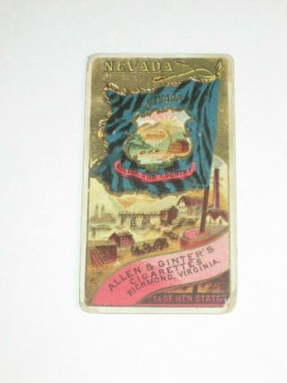 1890 N11 Allen & Ginter Cigarettes - Flags Of States/territories Card - Nevada