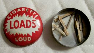 """Vintage """" Cigarette Loads Loud """" Metal Tin Container With Loads"""
