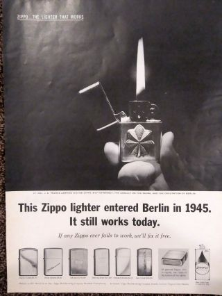 Vintage Zippo Lighter Print Ad.  Ad From The 60