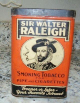 Vintage Sir Walter Raleigh Smokeless Cigarette & Pipe Tobacco Tin / Can