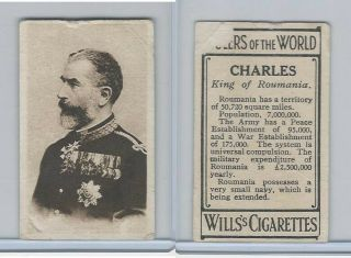 W62 - 425 Wills Tobacco,  Rulers Of The World,  1912,  Charles King Roumania