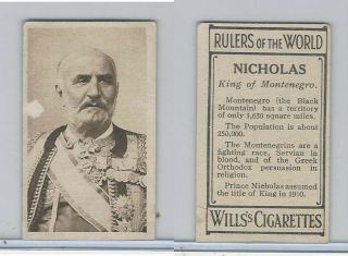 W62 - 425 Wills Tobacco,  Rulers Of The World,  1912,  Nicholas King Montenegro