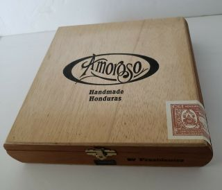 Vintage Amoroso Wood Cigar Box Handmade Honduras Empty Display Novelty