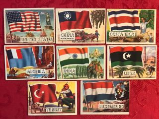 1959 Flags Of The World X 8 Large Cards - A &bc Gum - With Usa - Scarce - U.  K.  Issued - Ex
