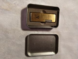 Vintage Gold Tone Firebird Pipe Lighter With Metal Case
