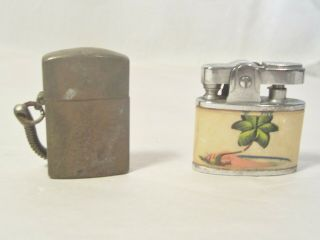 Two Vintage Small Cigerette Lighters/ Brass Military ?? Mother Of Pearl ??