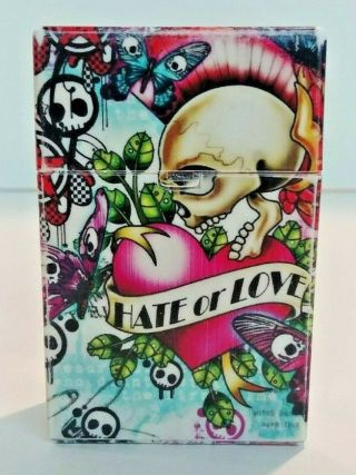 Retro Crush - Proof Plastic Cigarette Case Colorful Tattoo Ed Hardy Push To Open