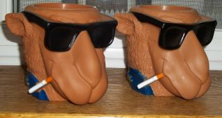Set Of 2 Camel Cigarette Smoking Joe Cool Beer Coolers Can Holders Coozy Vintage