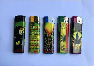 5 Pack Electronic Refillable Lighters Multi Pack Assorted Designs Uk Leaf