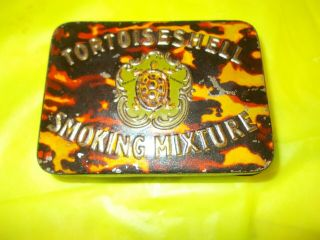 Vintage Tortoise Shell Smoking Mixture Tobacco Tin Very Rare Find