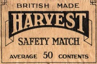 Matchbox Label Panel England Harvest Welwyn Match Co.