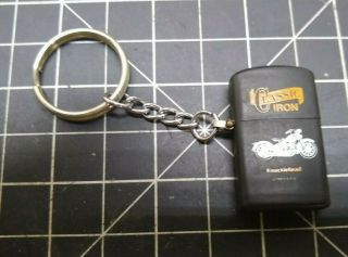 Classic Iron - Mini Lighter Keychain - Knucklehead Motorcycle - Black