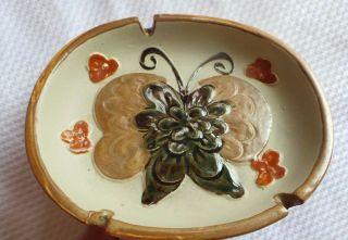 Ashtray Pottery Ashtray Medium Butterfly In Center Flowers.  Southwest