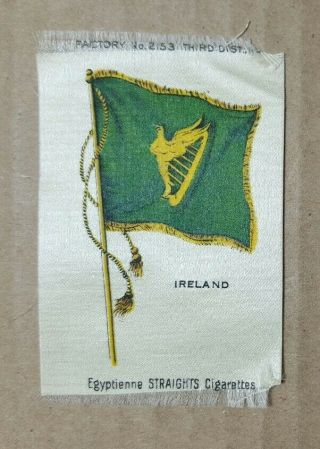 Vintage 1910s Egyptienne Straights Cigarettes Tobacco Silk - Ireland Flag