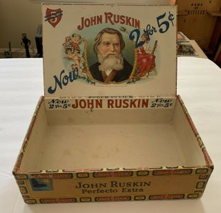 Vintage John Ruskin Wood Cigar Box Perfecto Extra 2 For 5 Cents Best And Biggest