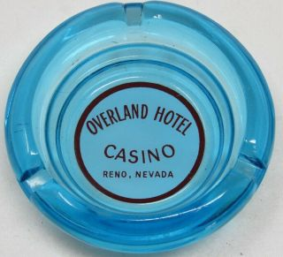 Vintage Overland Hotel Casino Blue Glass Advertising Ashtray Reno Nevada